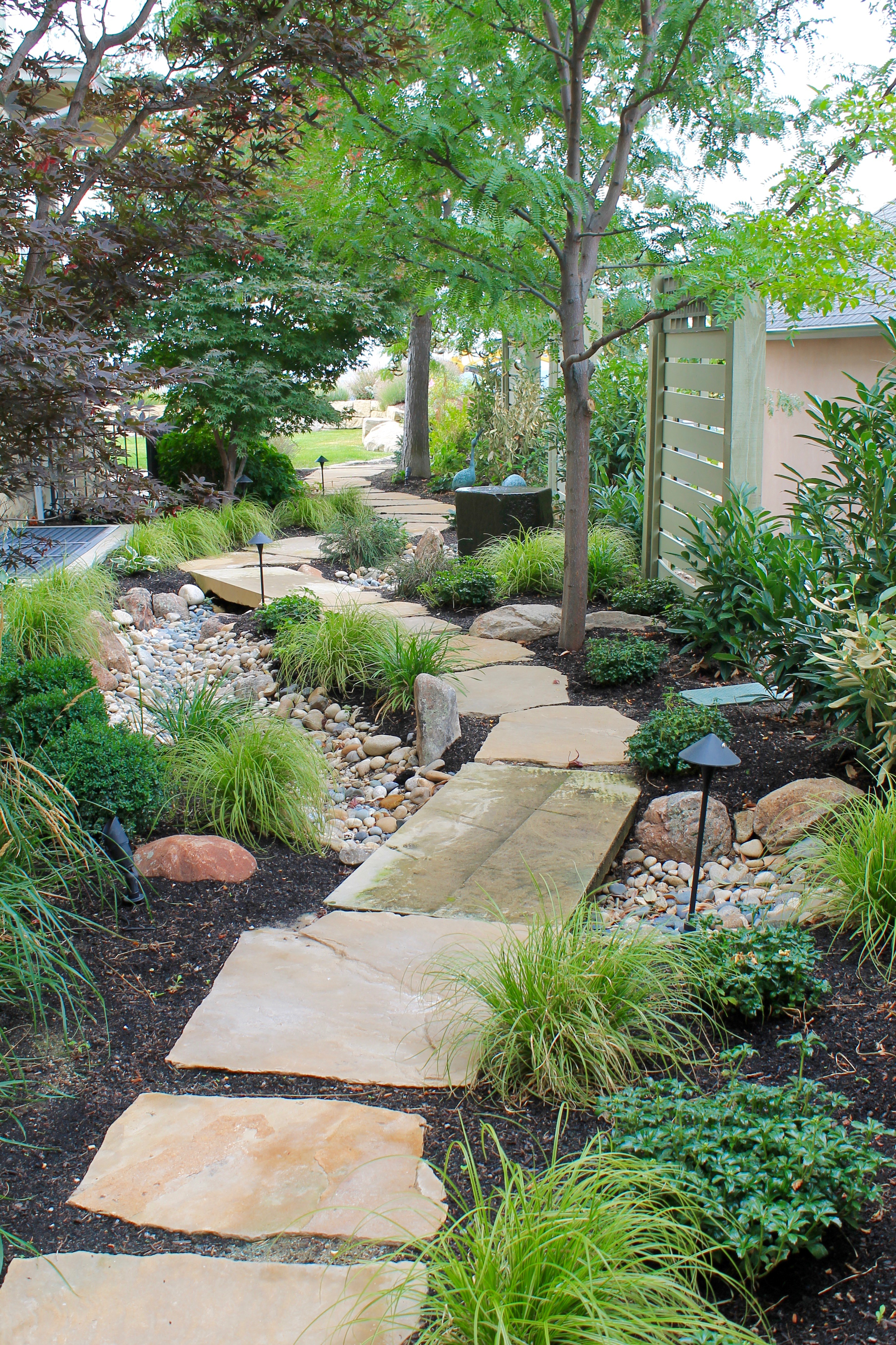 Asian Stone Path and Dry Creek | The Garden Artist Boise, ID