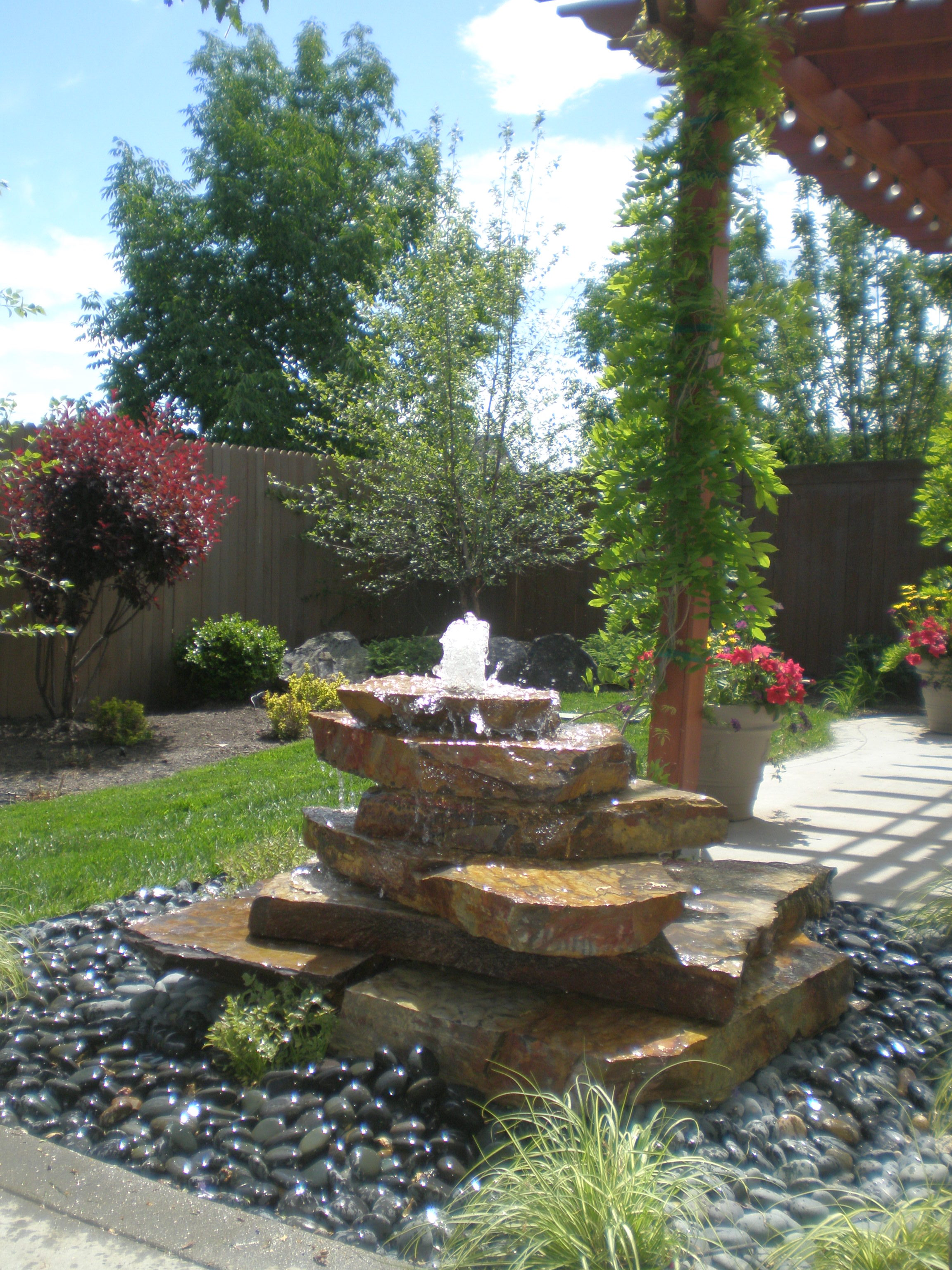 Custom Cairn Water Feature - 1 | The Garden Artist Boise, ID