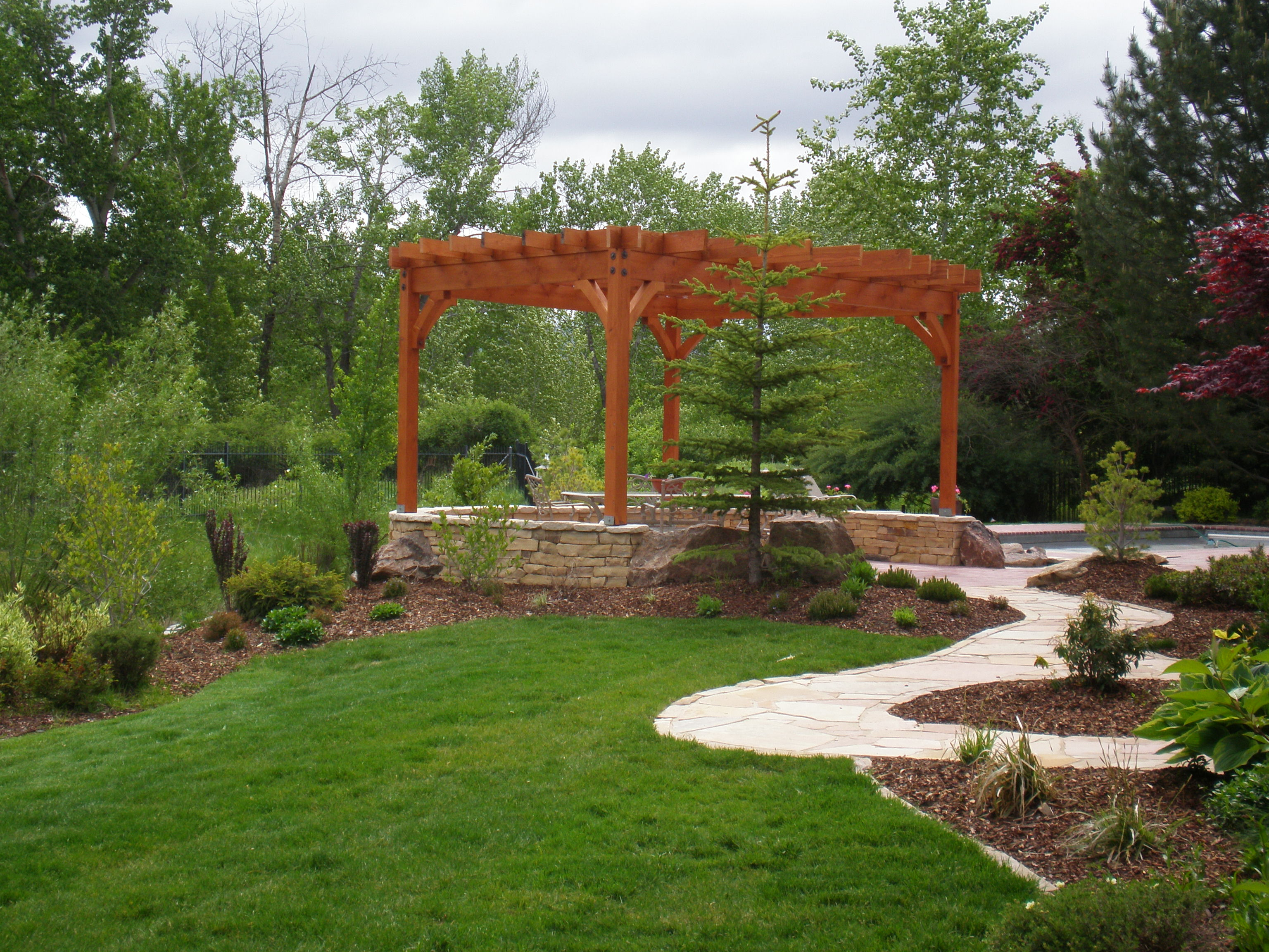 Custom Landscape with Pergola | The Garden Artist Boise, ID