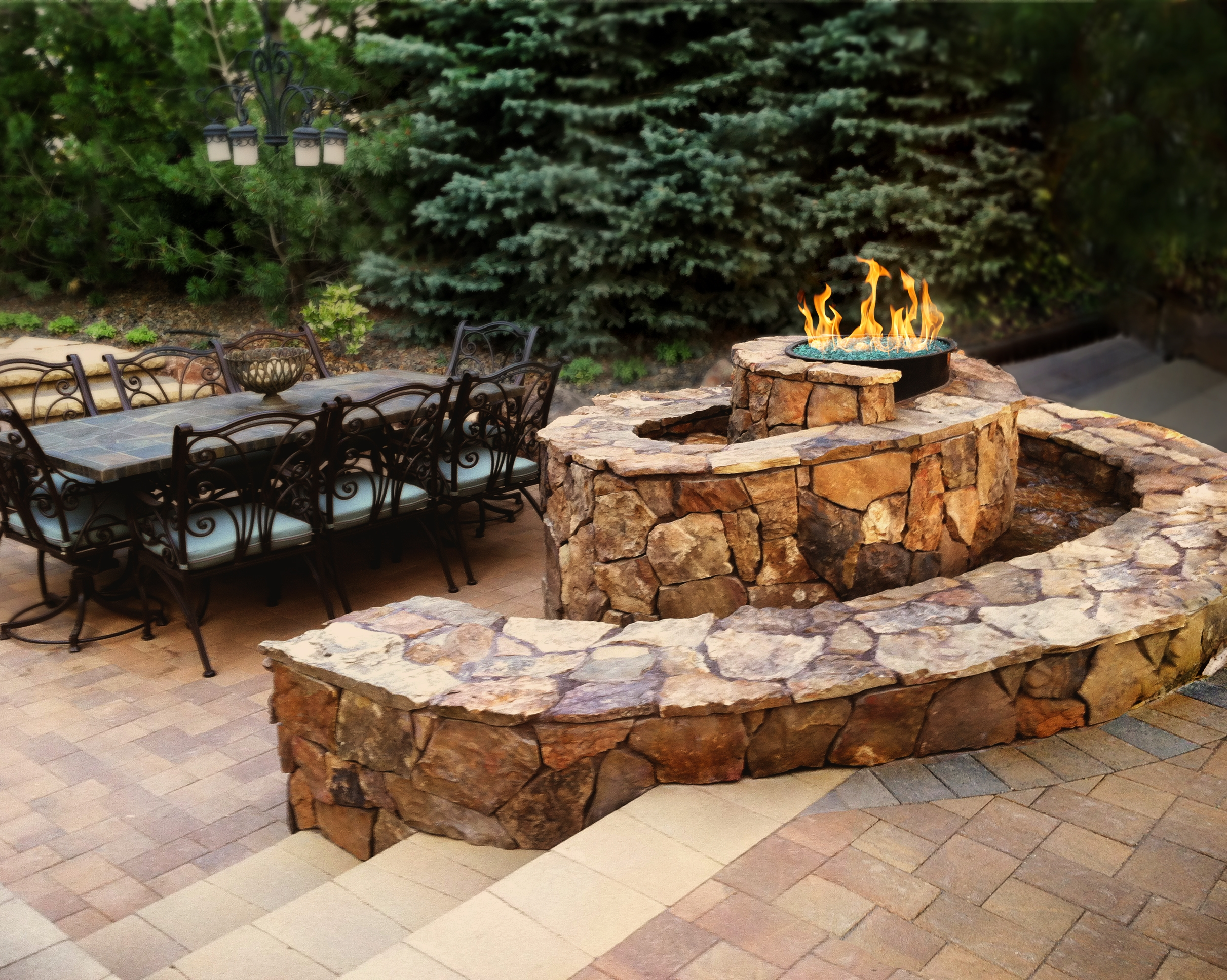 Custom Spiral Fire/Water Feature - 4 | The Garden Artist Boise, ID
