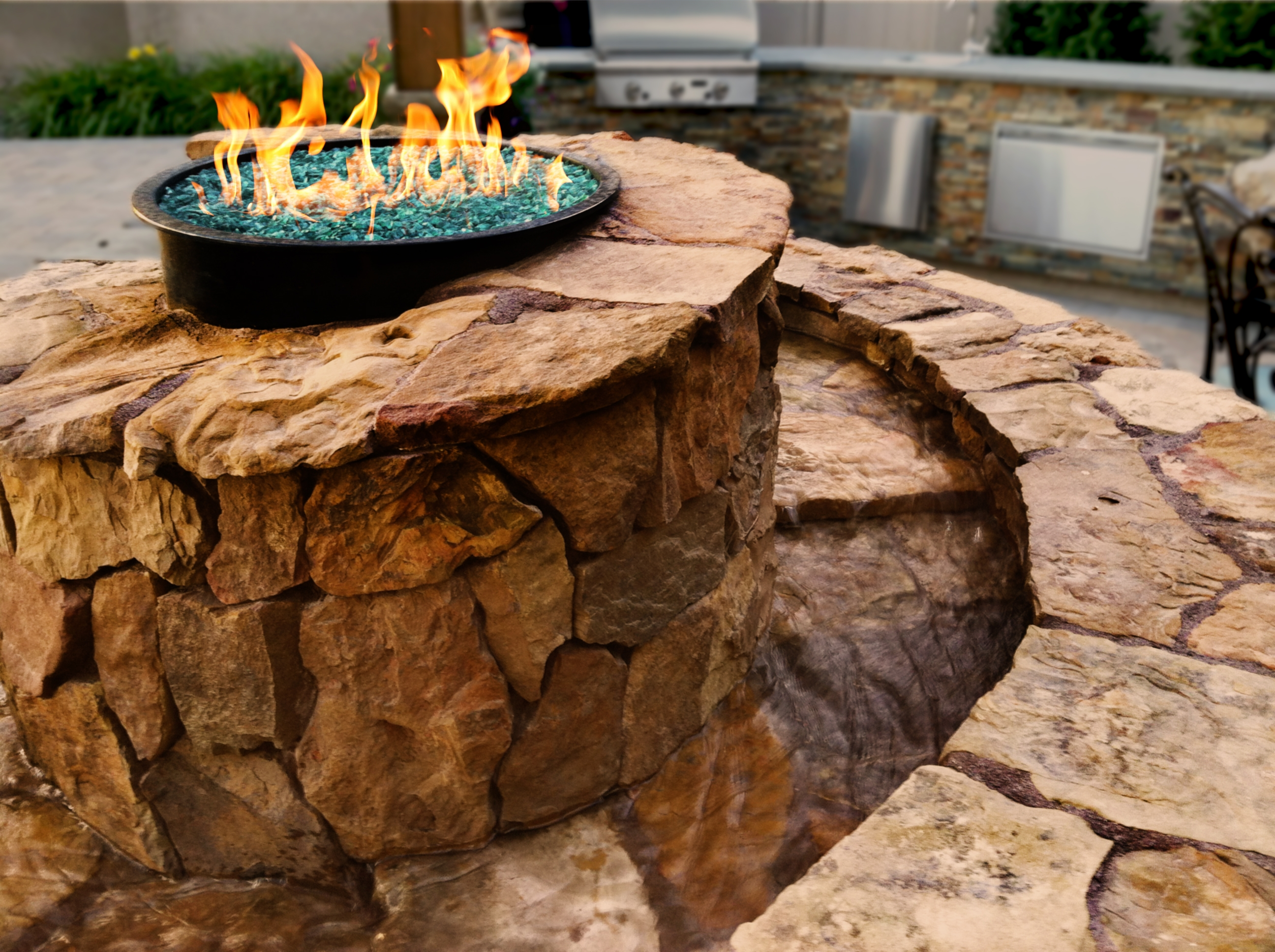 Custom Spiral Fire/Water Feature - 2 | The Garden Artist Boise, ID