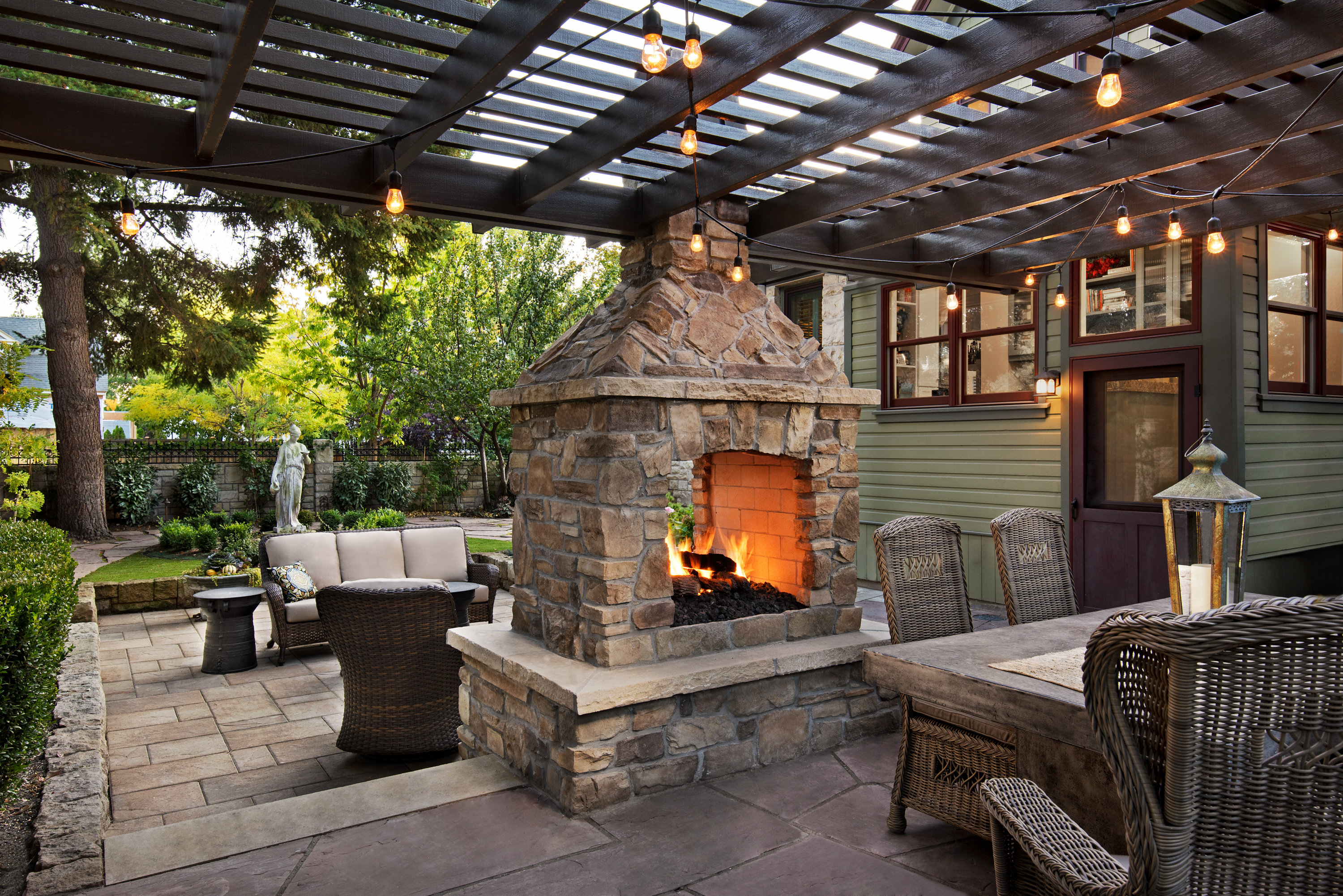 Outdoor Fireplace and Pergola | The Garden Artist Boise, ID
