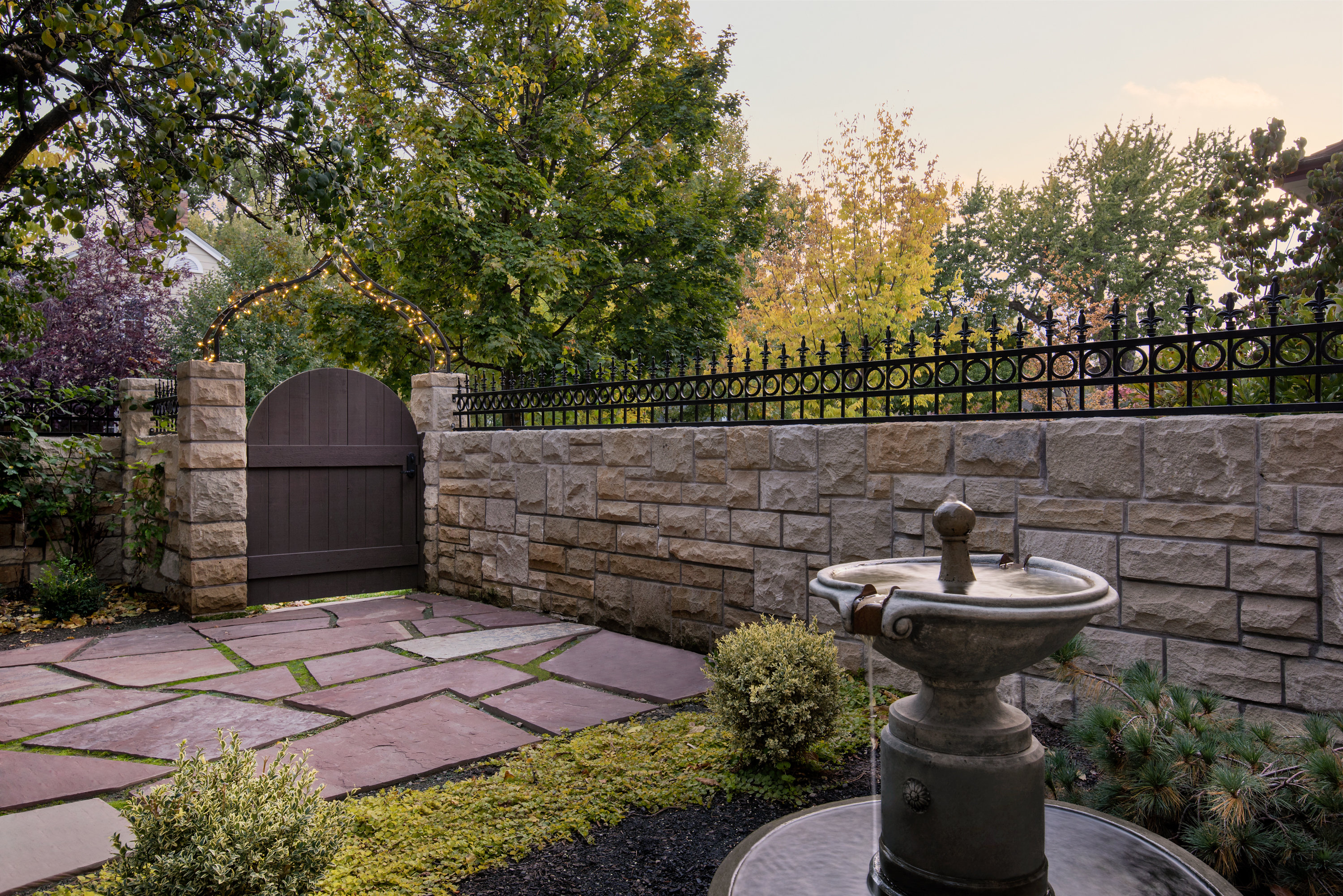Romantic Garden with Gate & Fountain | The Garden Artist Boise, ID