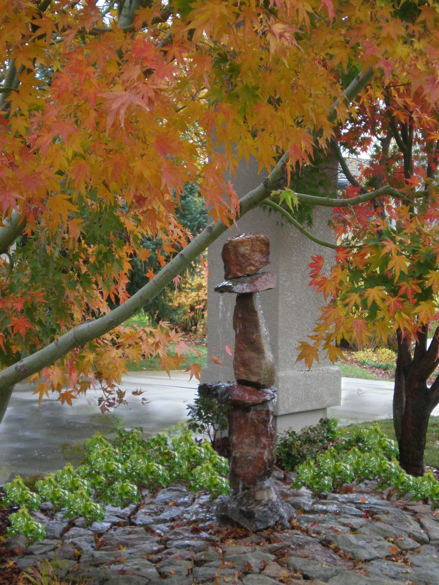 Funky Custom Cairn Fountain - 1 | The Garden Artist Boise, ID