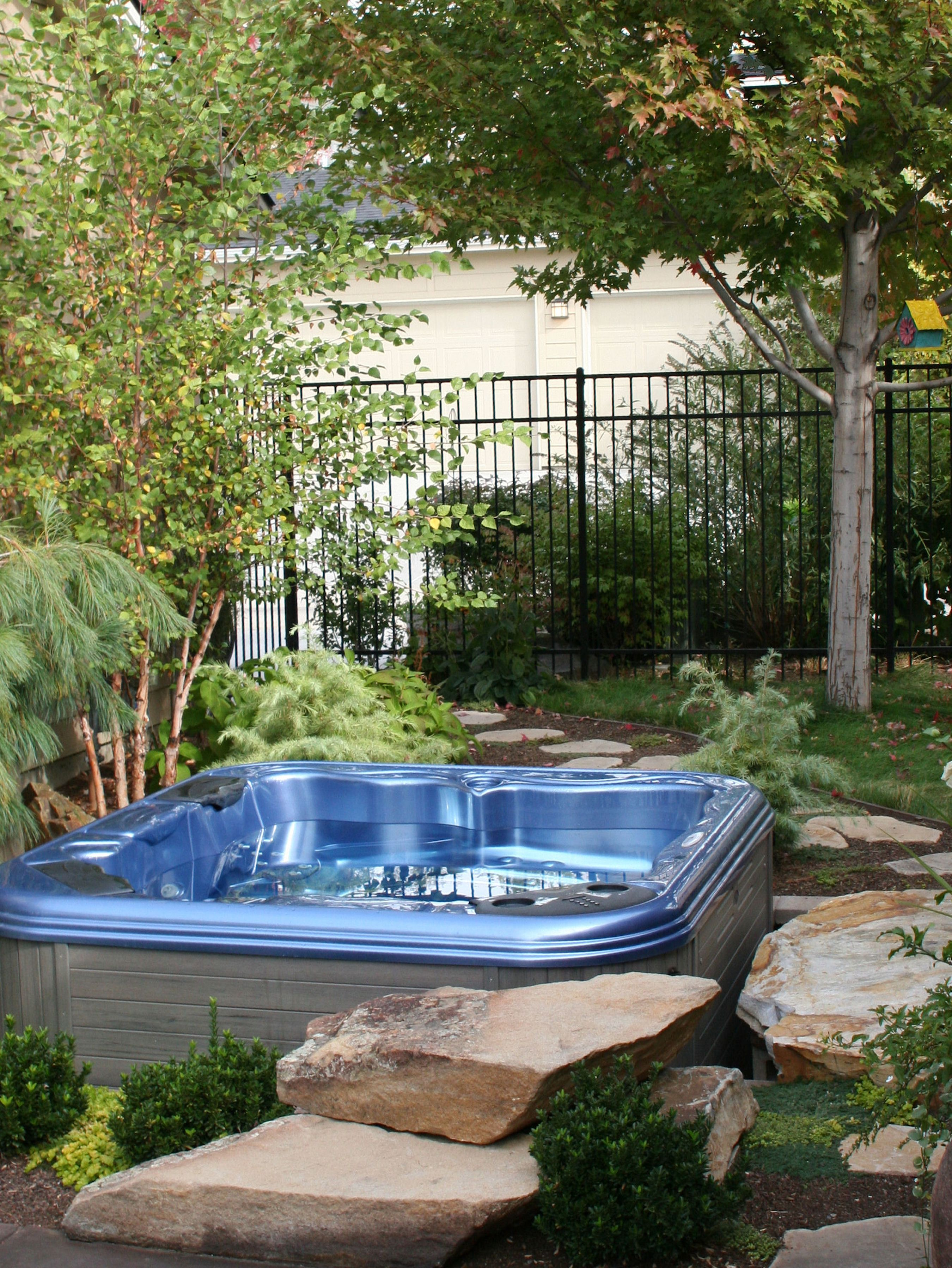 Hot Tub with Custom Stone Surround - 2 | The Garden Artist Boise, ID