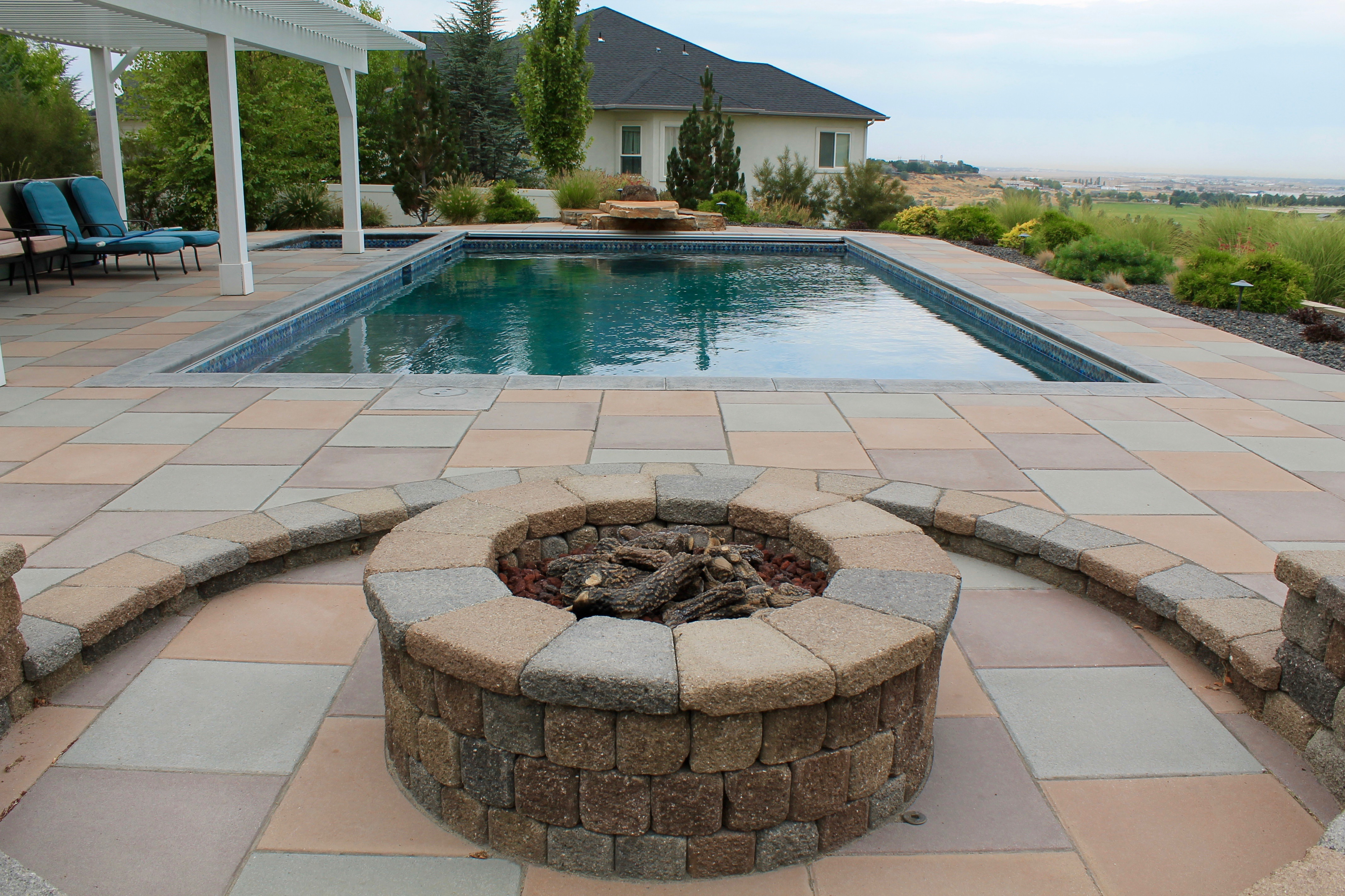 Pool and Fire Ring Backyard | The Garden Artist Boise, ID