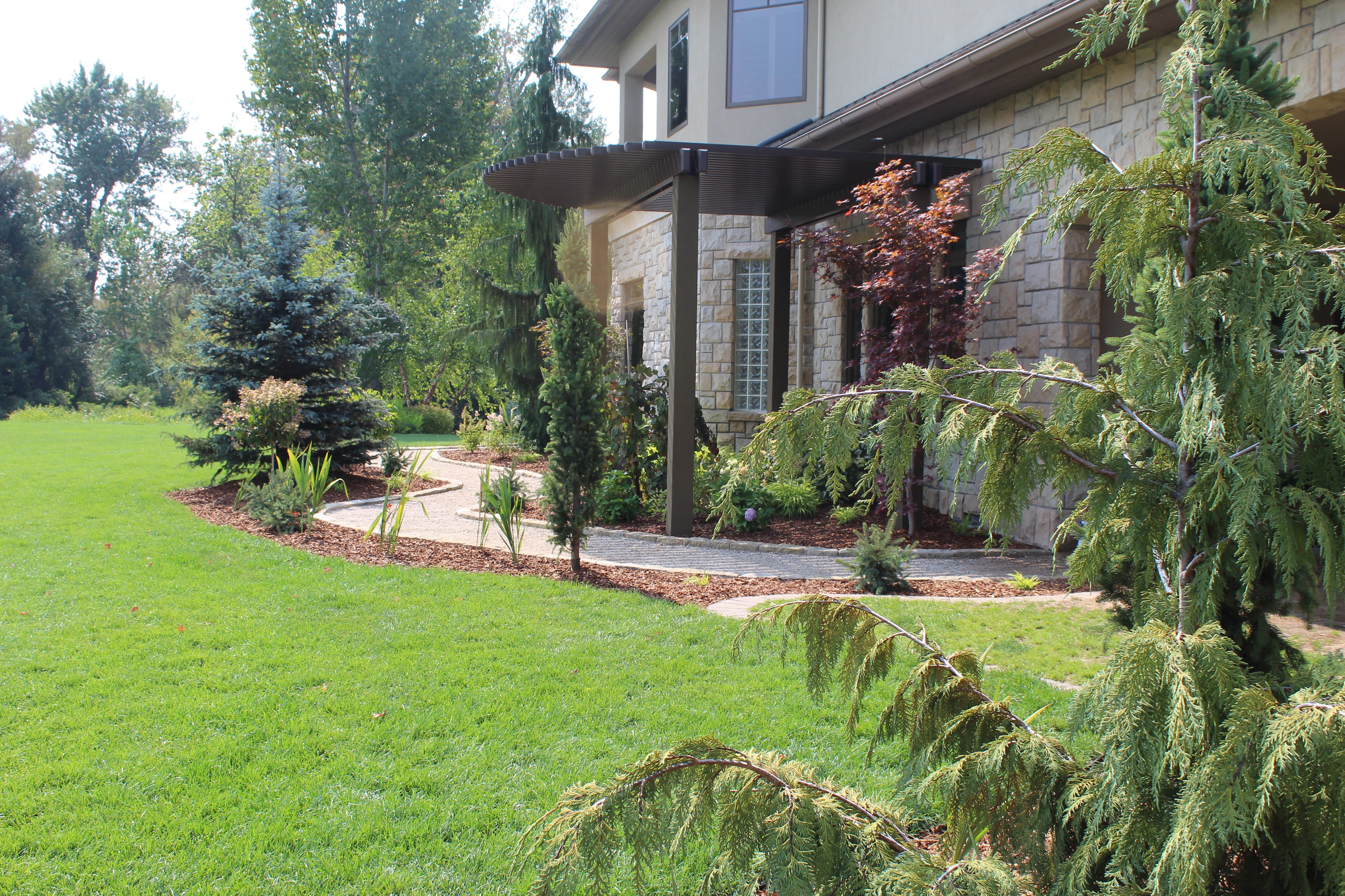 Sideyard Winding Paver Path | The Garden Artist Boise, ID