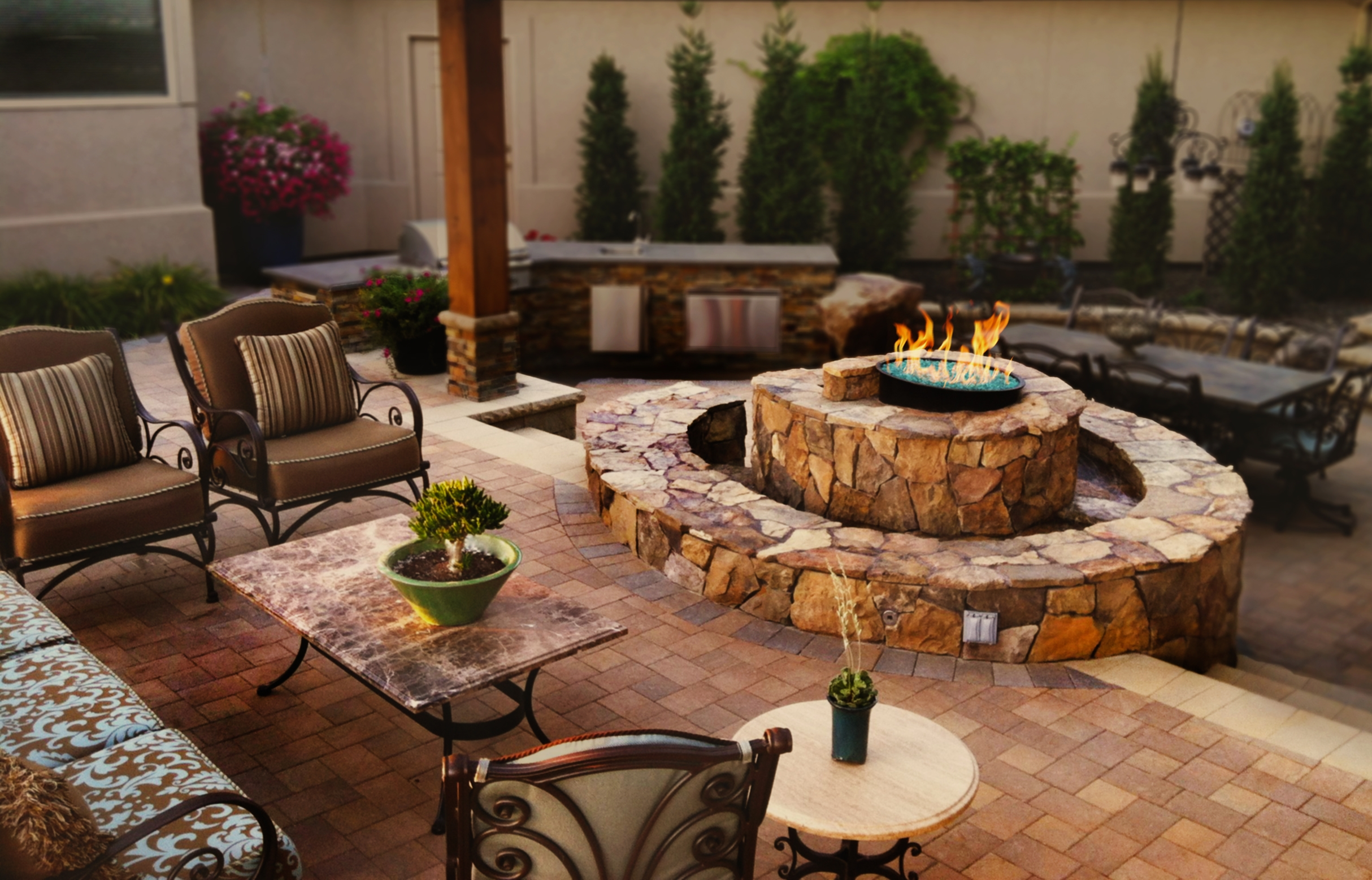Sitting Area with Fire/Water Feature | The Garden Artist Boise, ID