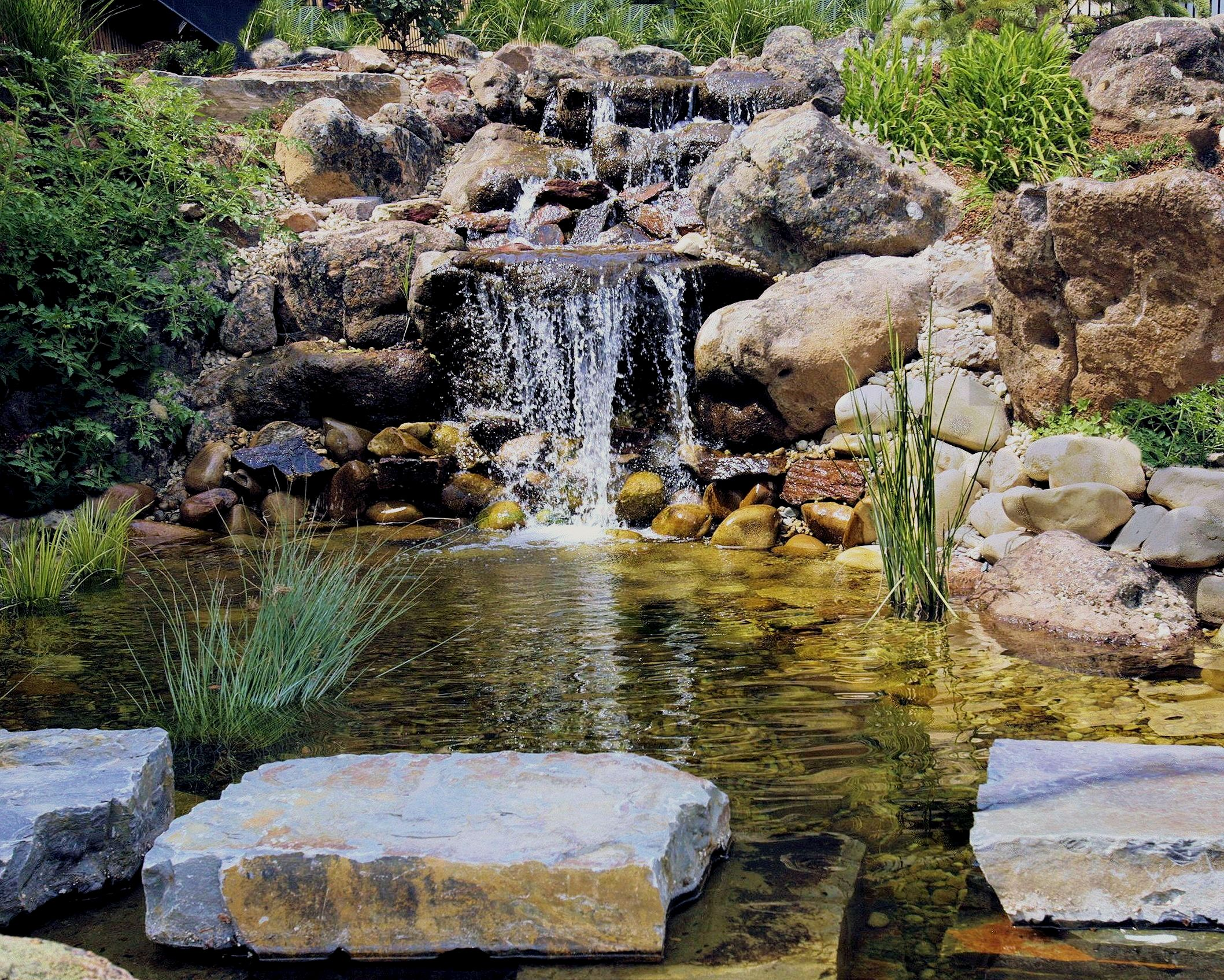 Waterfall Pond with Stepping Stones - 1 | The Garden Artist Boise, ID