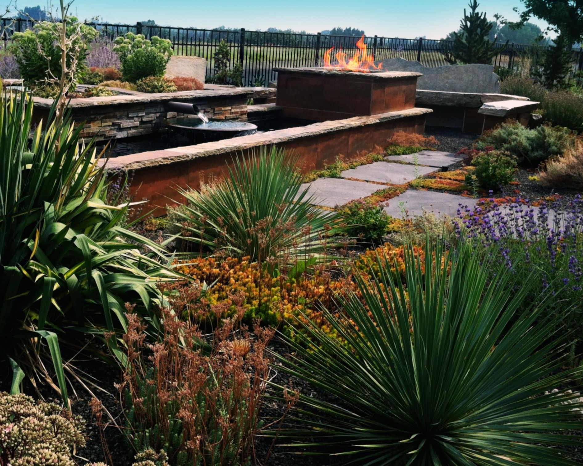 Xeric Garden & Fire/Water Feature | The Garden Artist Boise, ID
